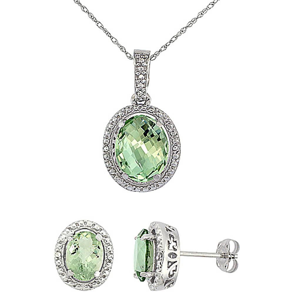10K White Gold Diamond Natural Green Amethyst Oval Earrings & Pendant Set
