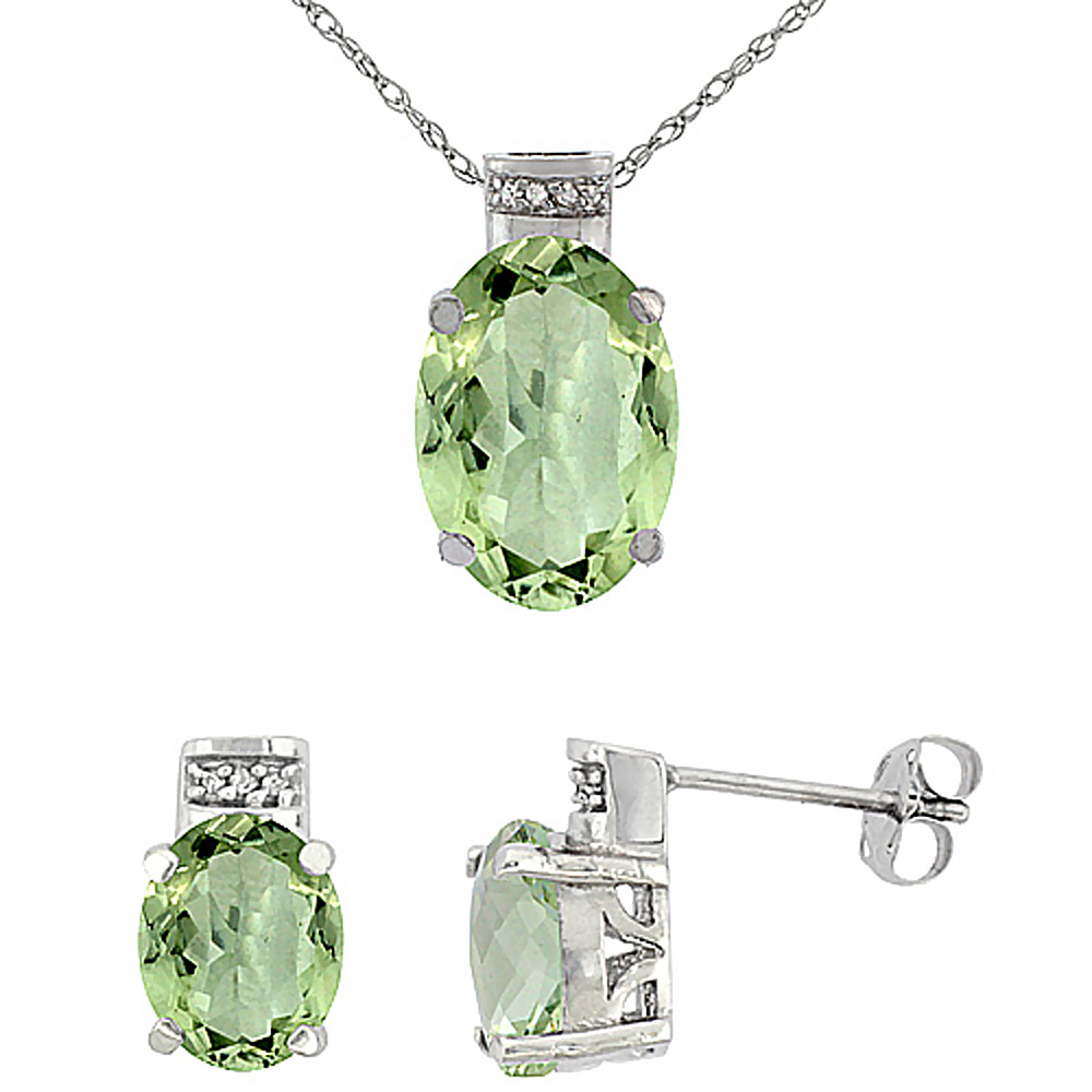 10K White Gold Diamond Natural Oval Green Amethyst Earrings & Pendant Set