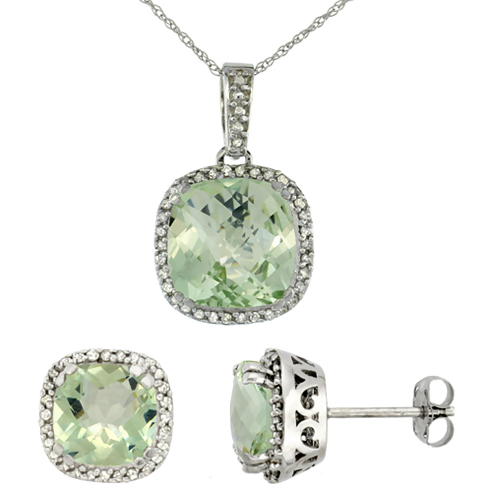 10k White Gold Diamond Halo Natural Green Amethyst Earring Necklace Set 7x7mm & 10x10mm Cushion, 18 inch