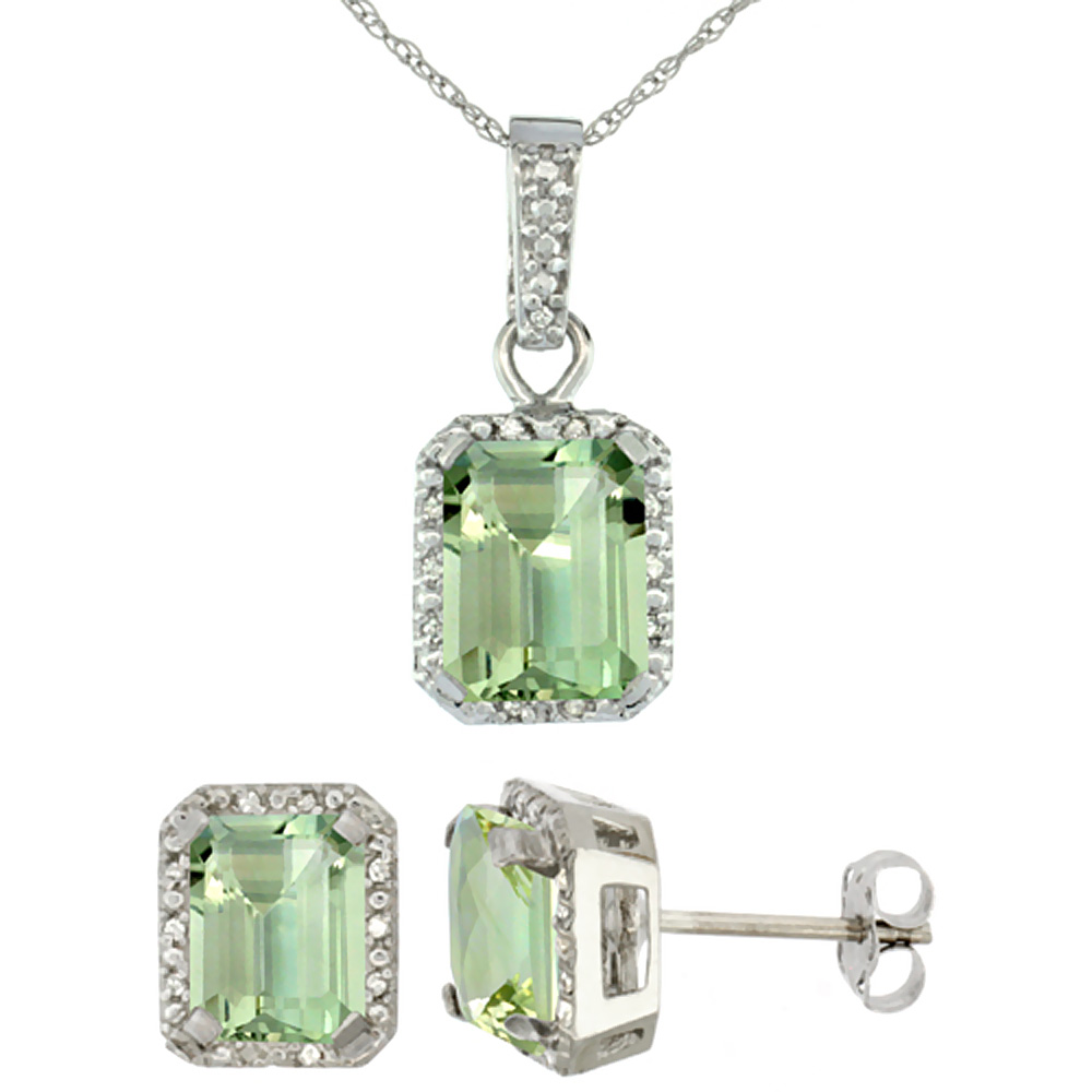 10K White Gold Natural Octagon 8x6 mm Green Amethyst Earrings & Pendant Set Diamond Accents