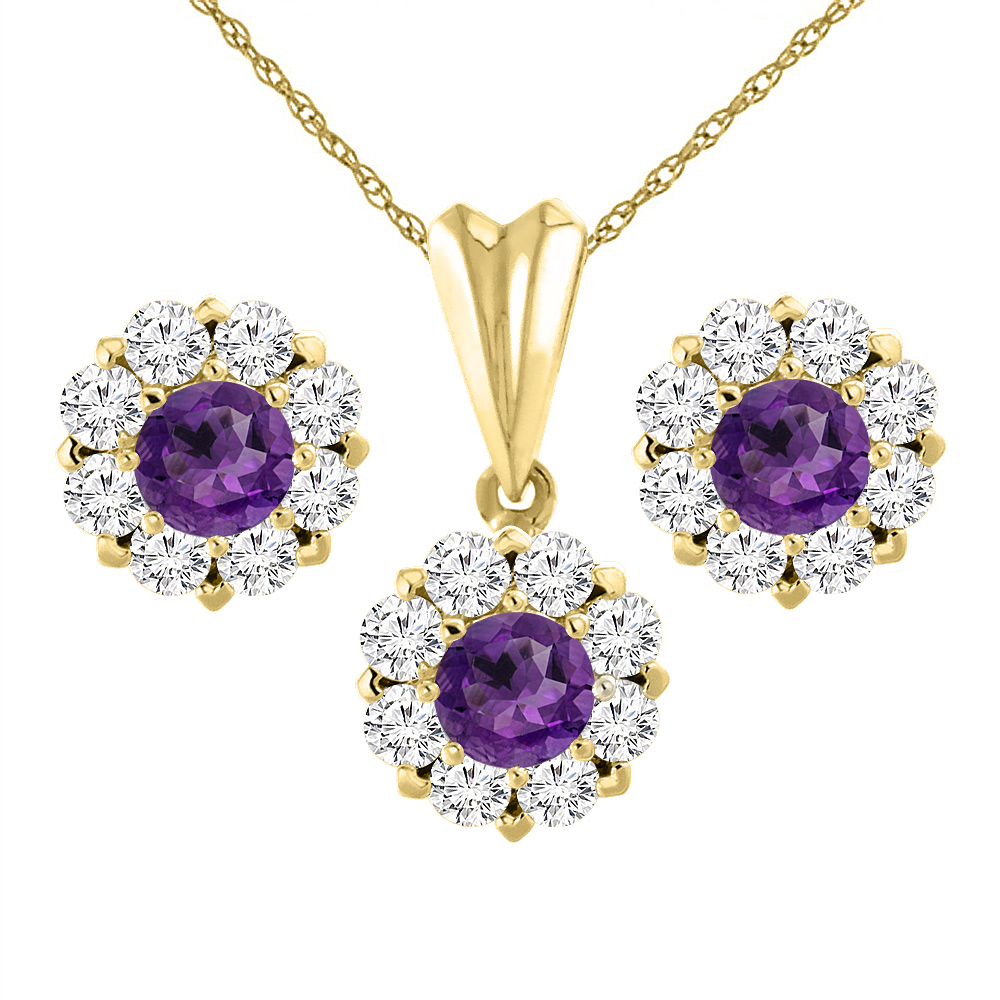 14K Yellow Gold Natural Amethyst Earrings and Pendant Set with Diamond Halo Round 6 mm