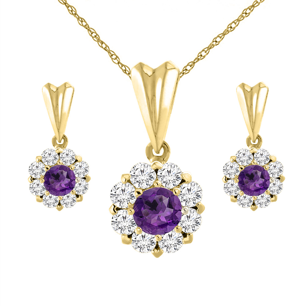14K Yellow Gold Natural Amethyst Earrings and Pendant Set with Diamond Halo Round 4 mm