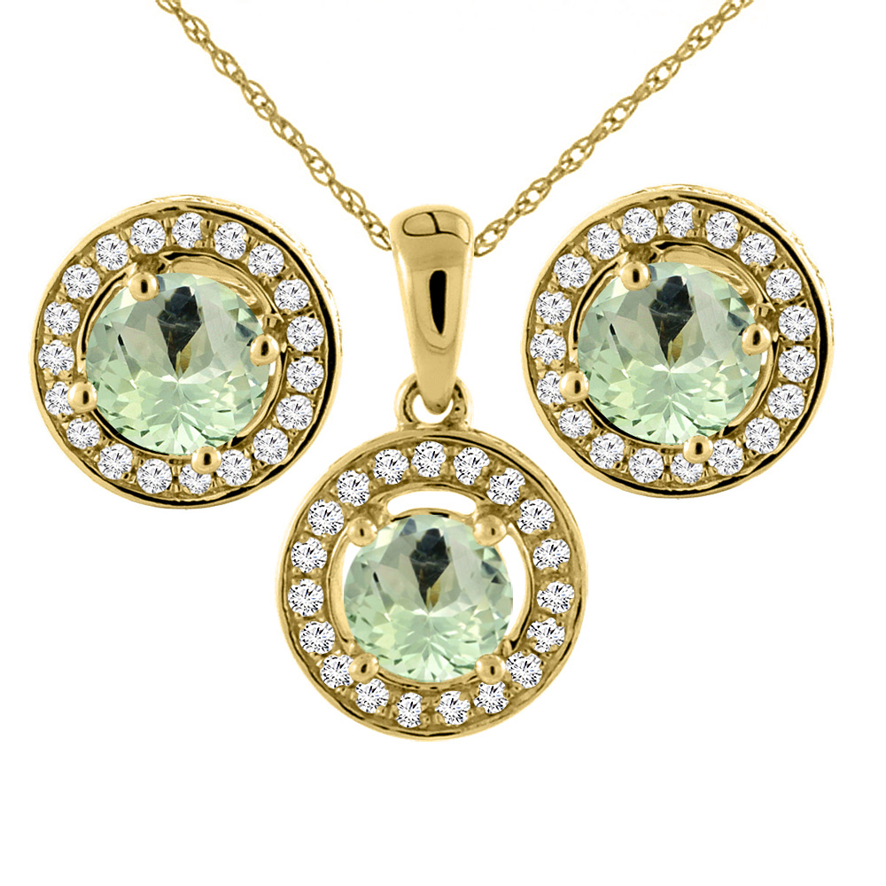 14K Yellow Gold Natural Green Amethyst Earrings and Pendant Set with Diamond Halo Round 5 mm