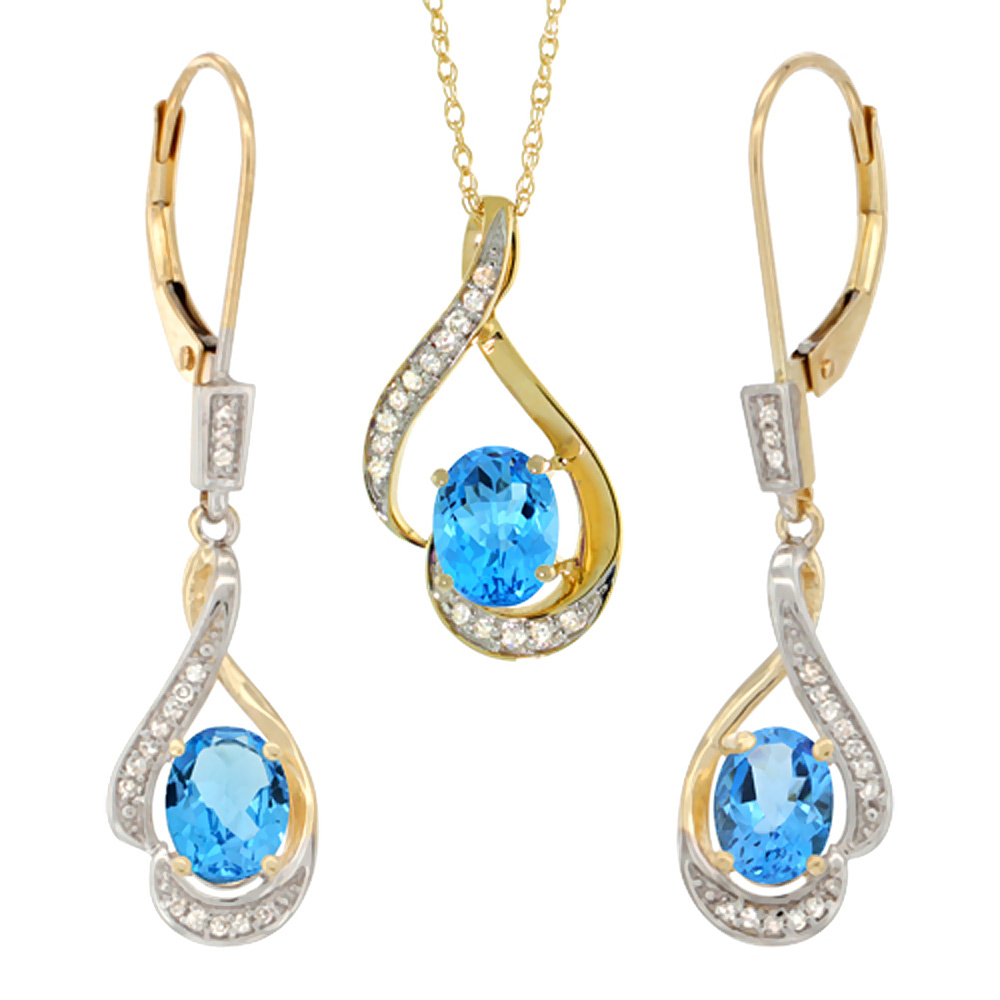 14K Yellow Gold Diamond Natural Swiss Blue Topaz Lever Back Earrings Necklace Set Oval 7x5mm,18 inch long