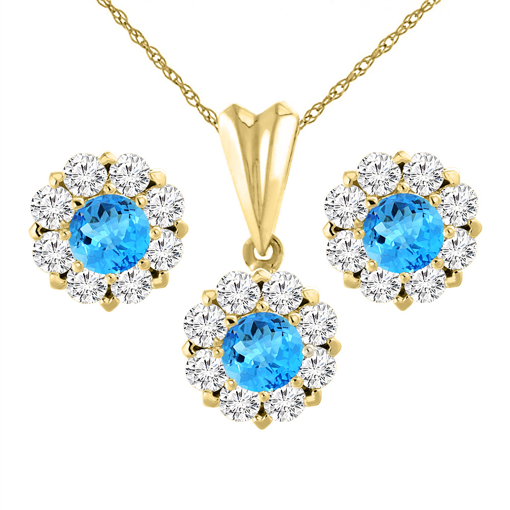 14K Yellow Gold Natural Swiss Blue Topaz Earrings and Pendant Set with Diamond Halo Round 6 mm