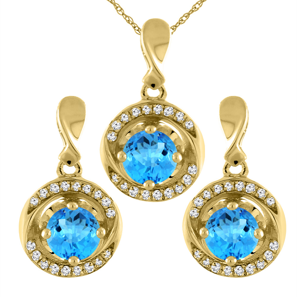 14K Yellow Gold Natural Swiss Blue Topaz Earrings and Pendant Set with Diamond Accents Round 4 mm