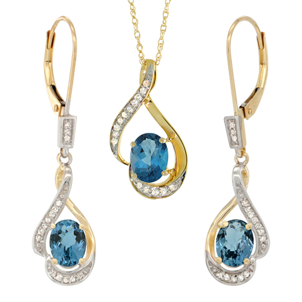 14K Yellow Gold Diamond Natural London Blue Topaz Lever Back Earrings Necklace Set Oval 7x5mm,18 inch