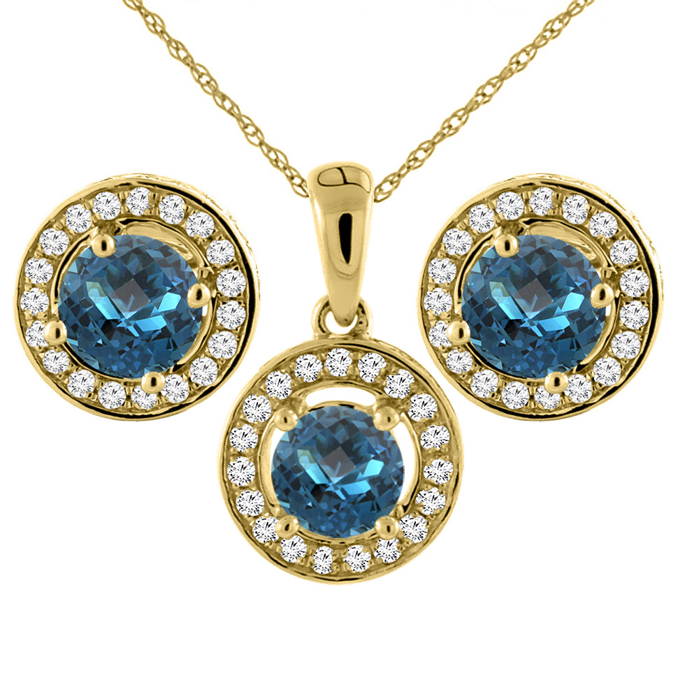 14K Yellow Gold Natural London Blue Topaz Earrings and Pendant Set with Diamond Halo Round 5 mm