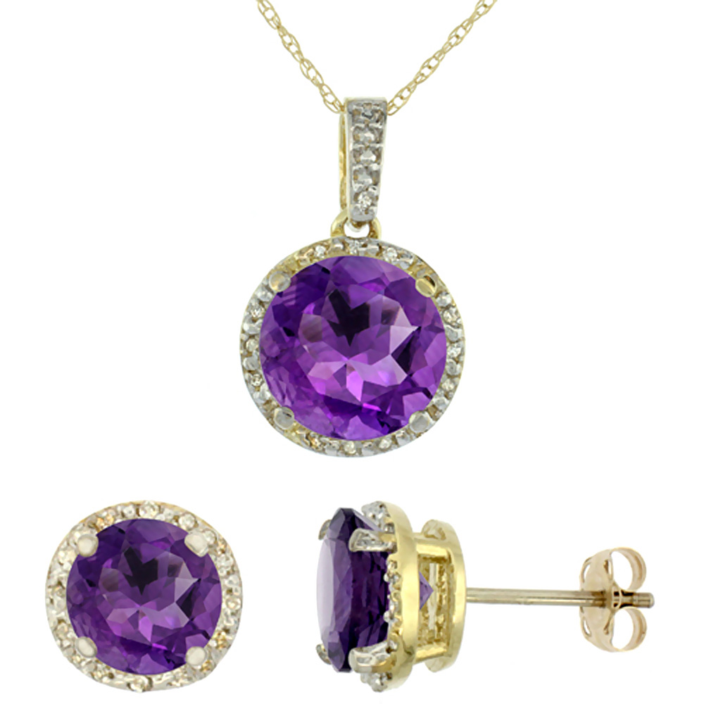 10K Yellow Gold Natural Round Amethyst Earrings & Pendant Set Diamond Accents