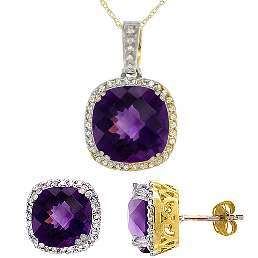 10k Yellow Gold Diamond Halo Natural Amethyst Earring Necklace Set 7x7mm & 10x10mm Cushion, 18 inch