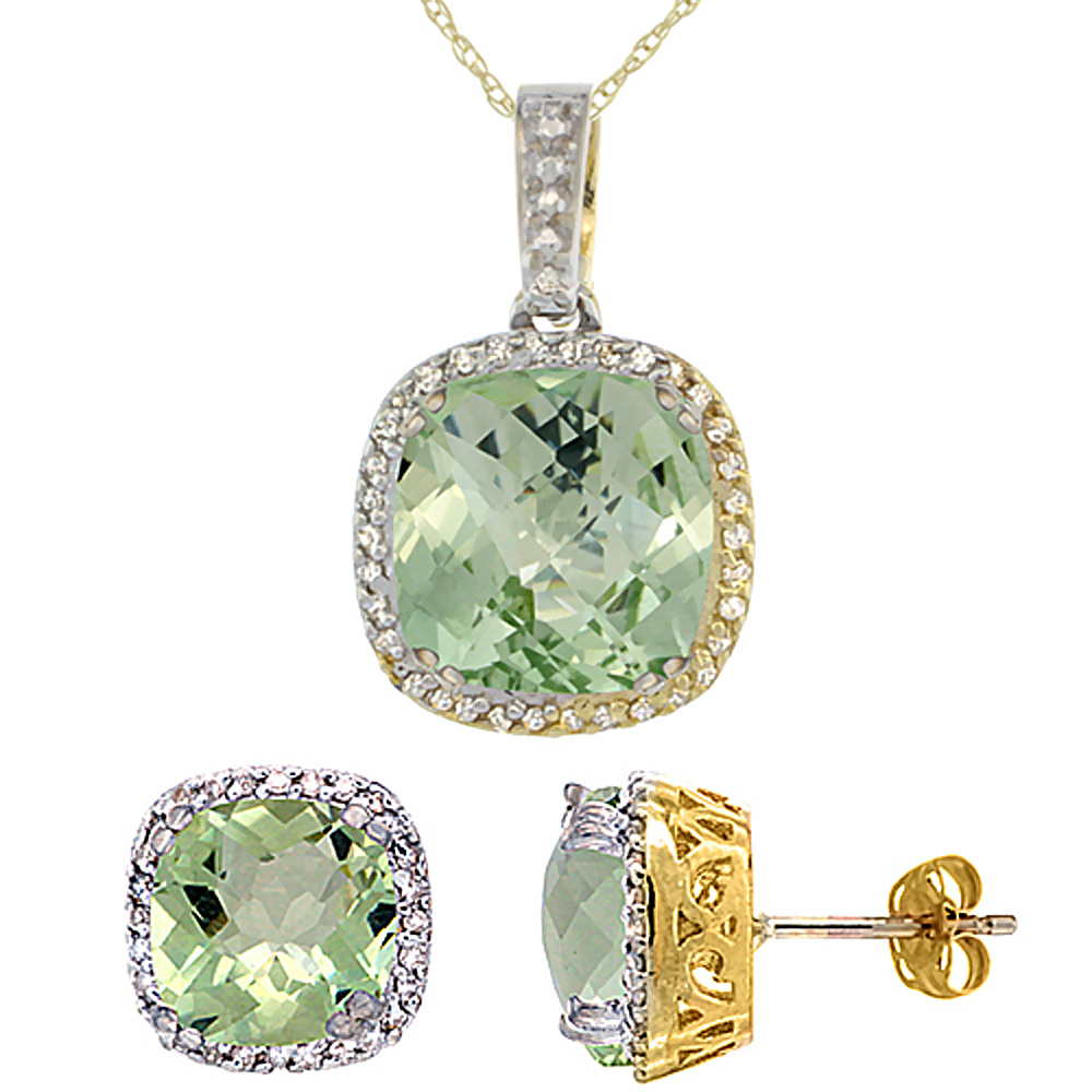 10k Yellow Gold Diamond Halo Natural Green Amethyst Earring Necklace Set 7x7mm & 10x10mm Cushion, 18 inch