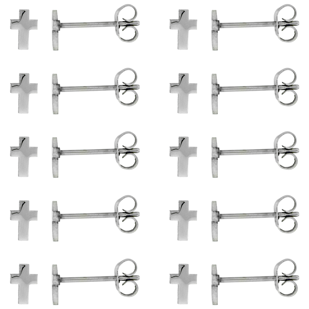 10 PAIR PACK Stainless Steel Very Tiny Cross Stud Earrings 1/4 inch
