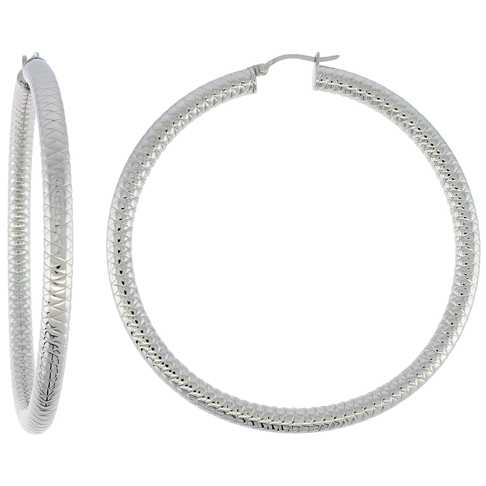 Stainless Steel Hoop Earrings 3 inch 5 mm Round Tube Thick Tight Zigzag Pattern Light Weightt