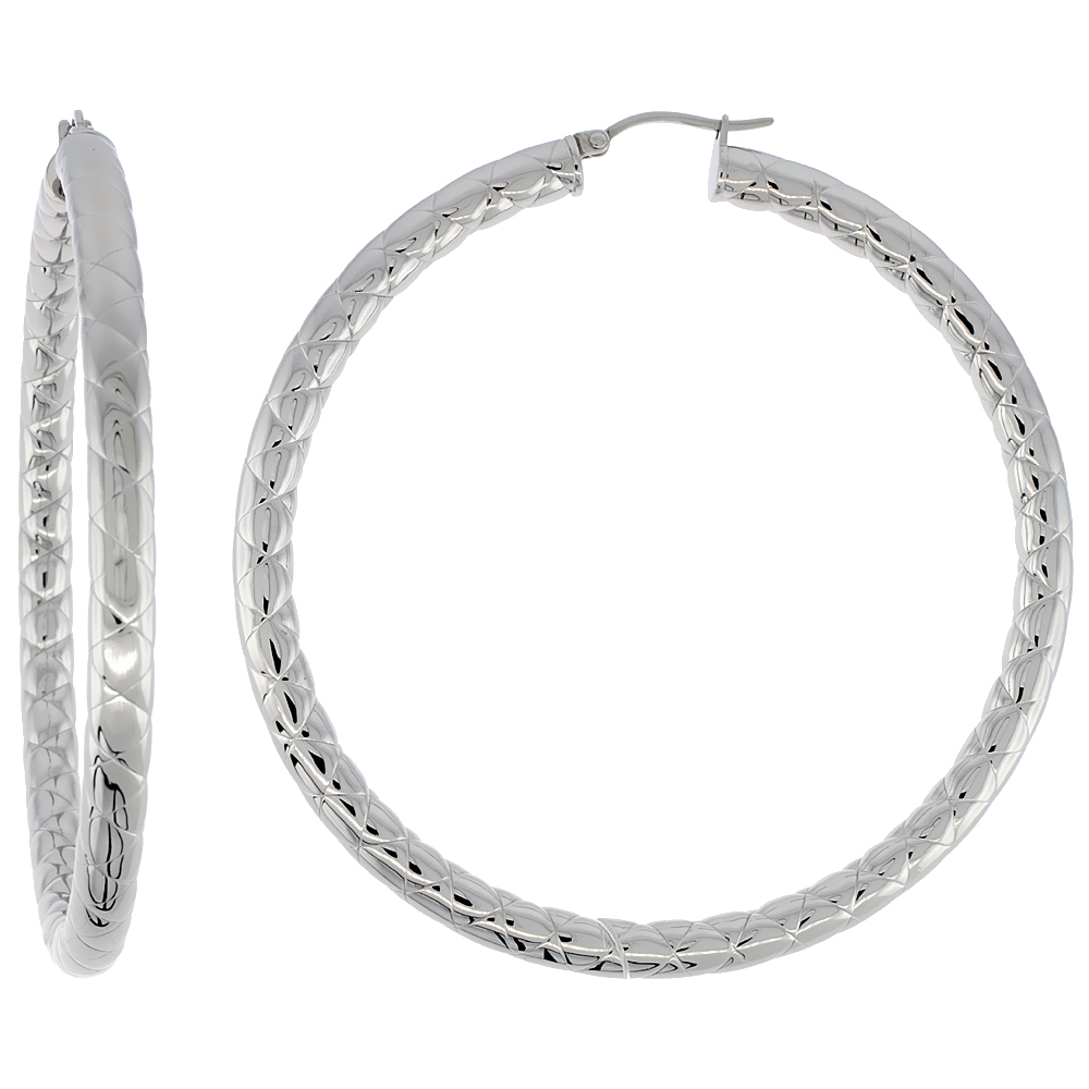 Stainless Steel Hoop Earrings 3 inch 4 mm Round Tube Zigzag Pattern Light Weightt
