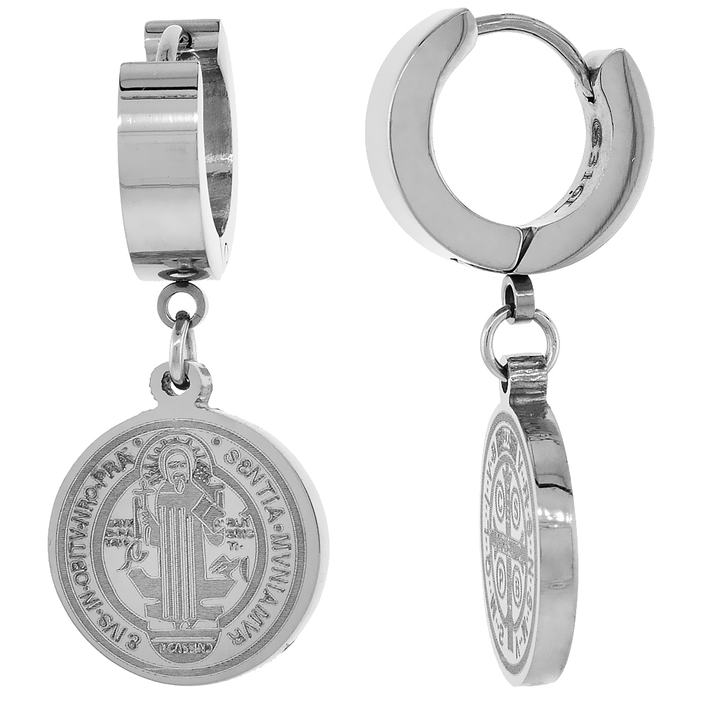 Small Stainless Steel St Benedict Huggie Hoop Earrings, 5/8 inch