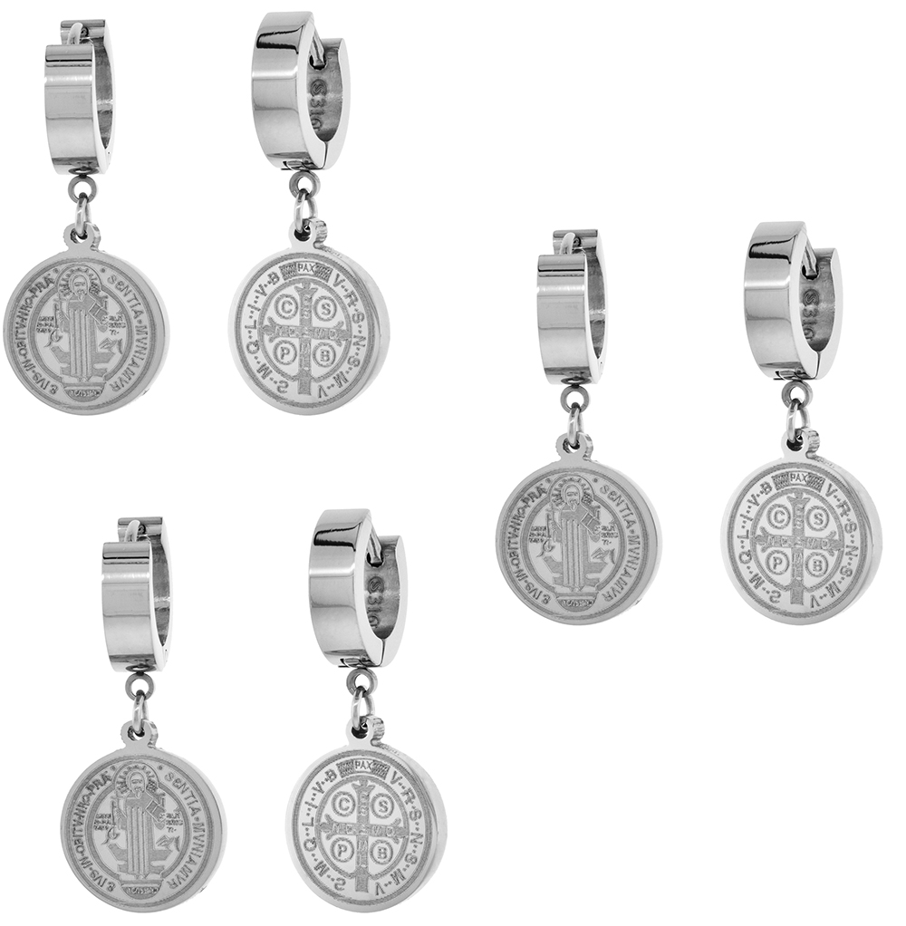3 PAIR PACK Small Stainless Steel St Benedict Huggie Hoop Earrings, 5/8 inch