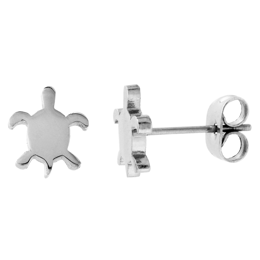 Small Stainless Steel Sea Turtle Stud Earrings, 3/8 inch