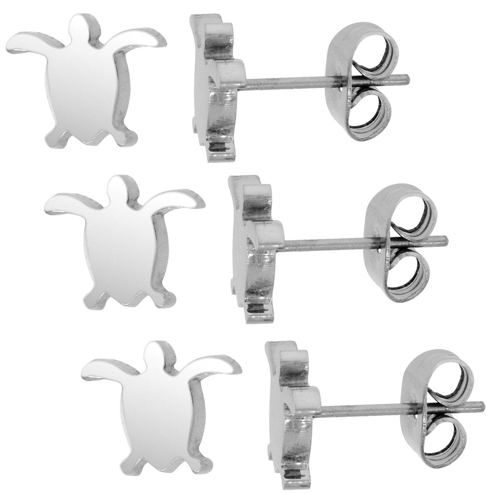 3 PAIR PACK Small Stainless Steel Sea Turtle Stud Earrings, 3/8 inch