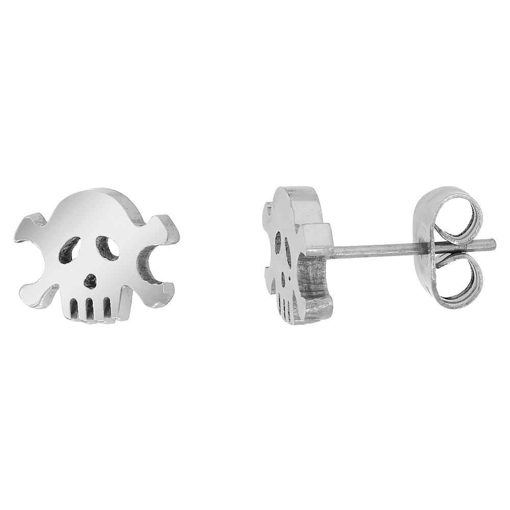Small Stainless Steel Skull & Crossbones Stud Earrings 9 mm