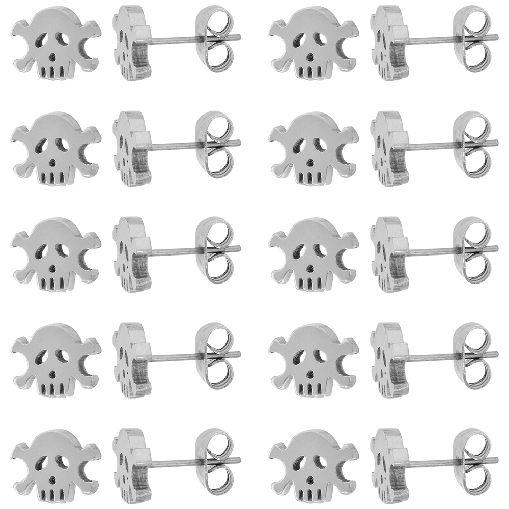 10 PAIR PACK Small Stainless Steel Skull & Crossbones Stud Earrings 9 mm