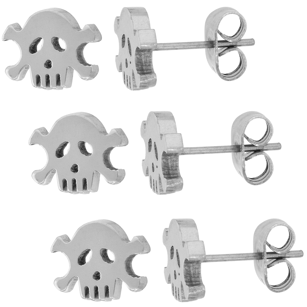 3 PAIR PACK Small Stainless Steel Skull & Crossbones Stud Earrings 9 mm