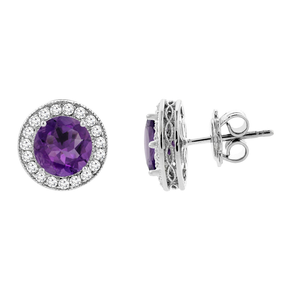 14K White Gold Natural Amethyst Halo Earrings with Diamond Accent, 3/16 inch wide