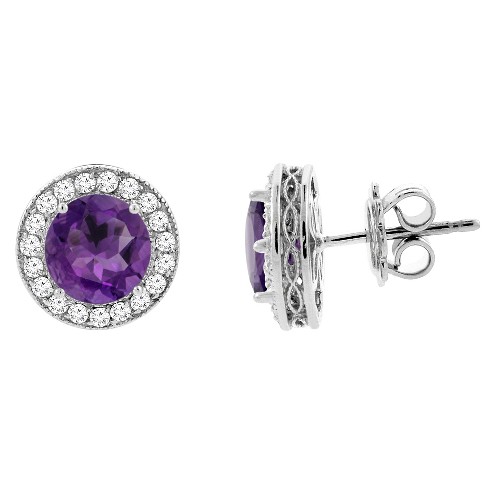 14K White Gold Natural Amethyst Halo Earrings with Diamond Accent, 1/4 inch wide