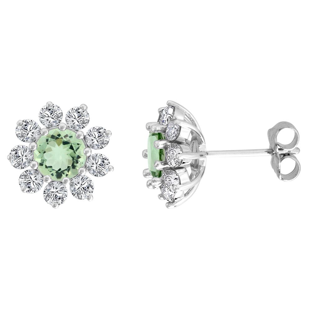 14k White Gold Diamond Halo Genuine Green Amethyst Halo Stud Earrings Round 6mm 7/16 inch wide