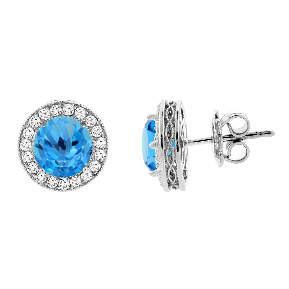 14K White Gold Natural Swiss Blue Topaz Halo Earrings with Diamond Accent, 3/16 inch wide