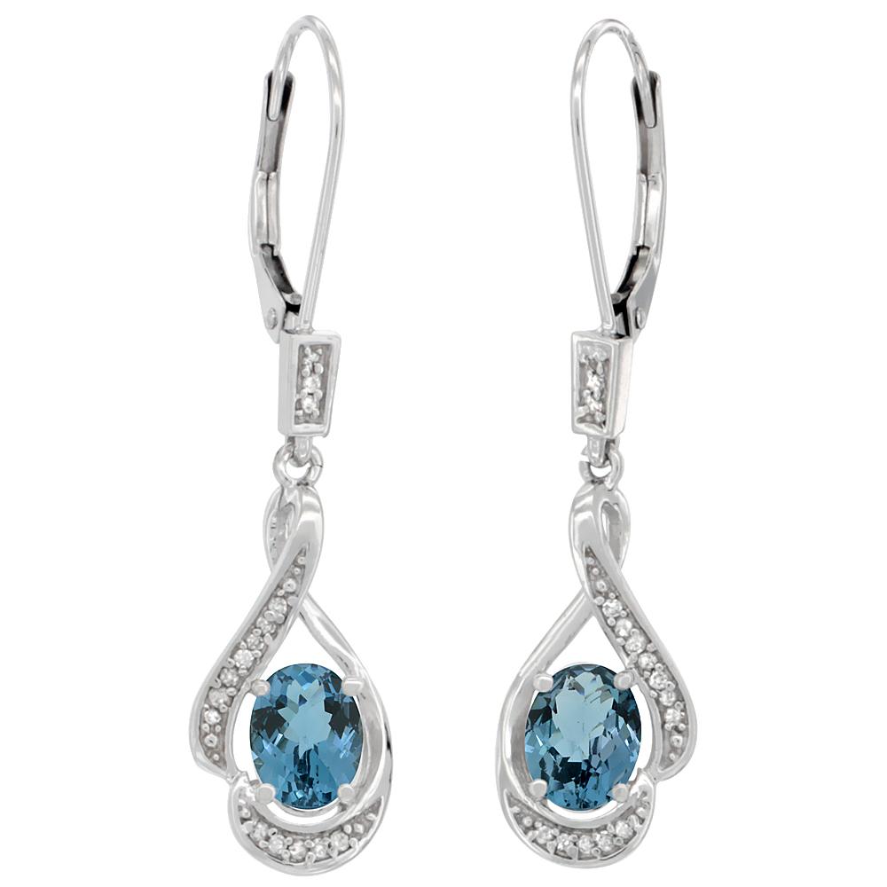 14K White Gold Diamond Natural London Blue Topaz Leverback Earrings Oval 7x5mm,1 7/16 inch long