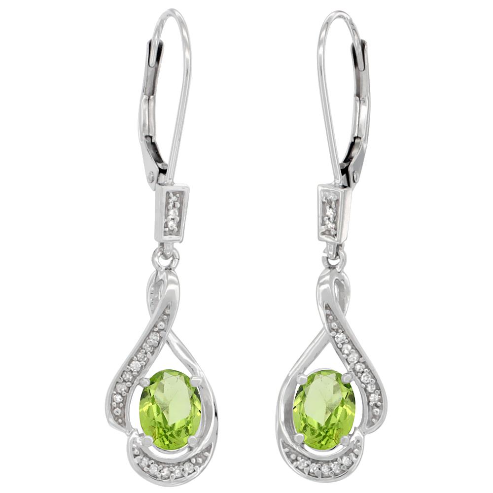 14K White Gold Diamond Natural Peridot Leverback Earrings Oval 7x5 mm, 1 7/16 inch long