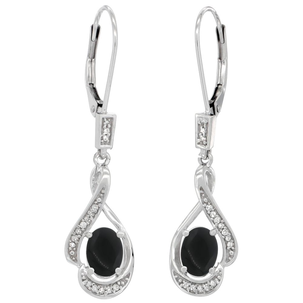14K White Gold Diamond Natural Black Onyx Leverback Earrings Oval 7x5 mm, 1 7/16 inch long