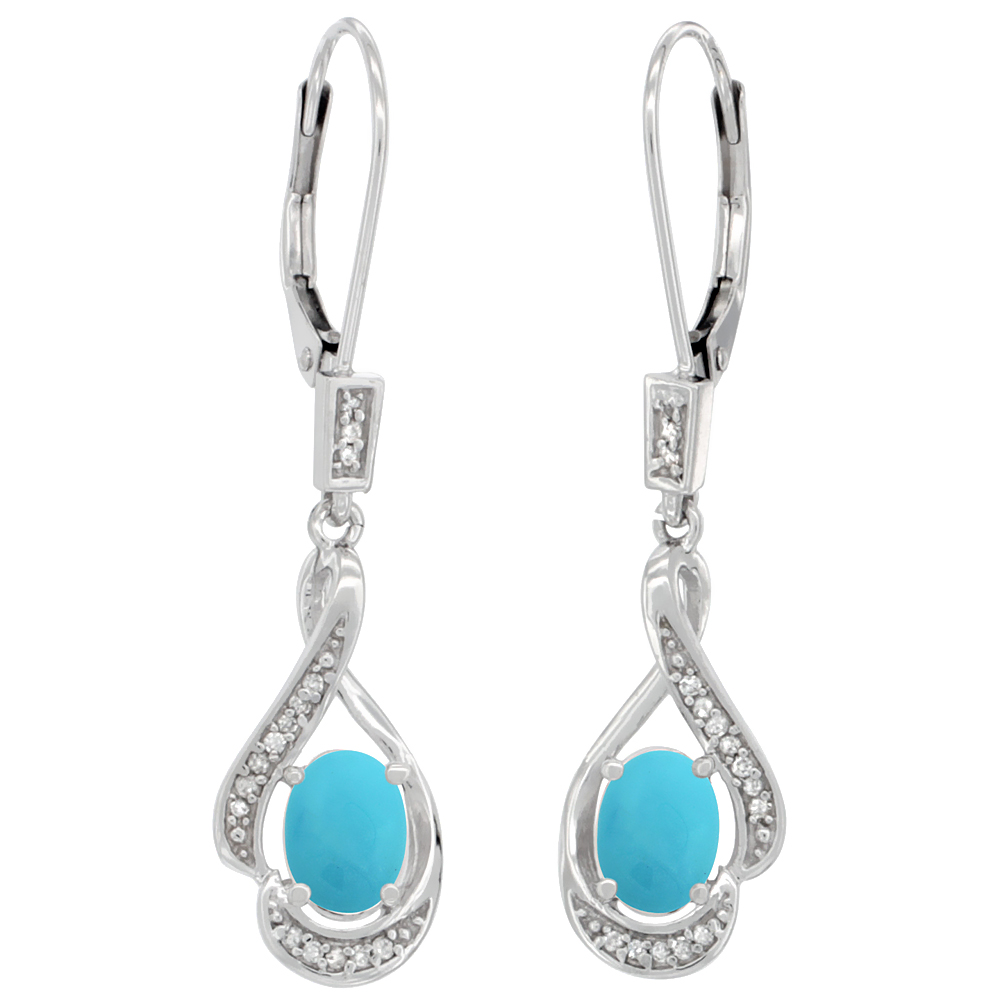 14K White Gold Diamond Natural Turquoise Leverback Earrings Oval 7x5 mm, 1 7/16 inch long