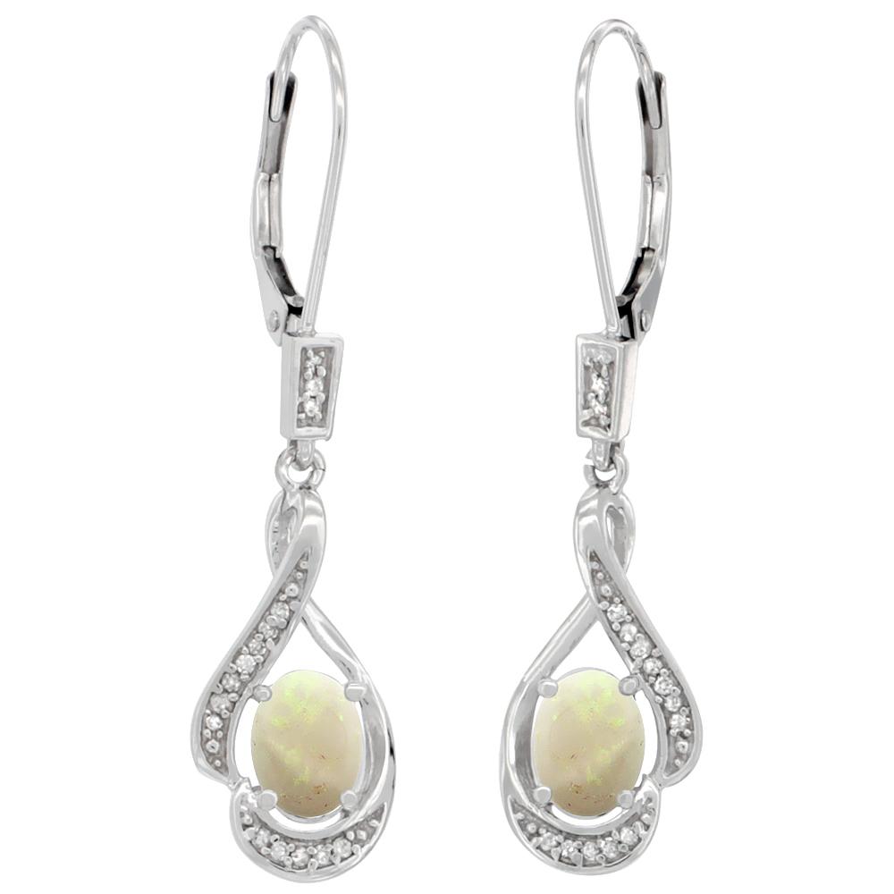 14K White Gold Diamond Natural Opal Leverback Earrings Oval 7x5 mm, 1 7/16 inch long