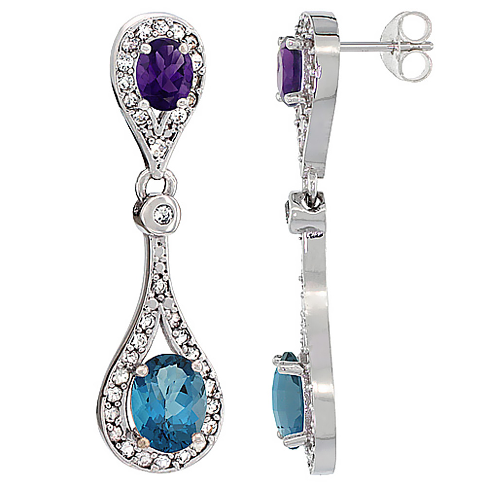 14K White Gold Natural London Blue Topaz & Amethyst Oval Dangling Earrings White Sapphire & Diamond Accents, 1 3/8 inches long