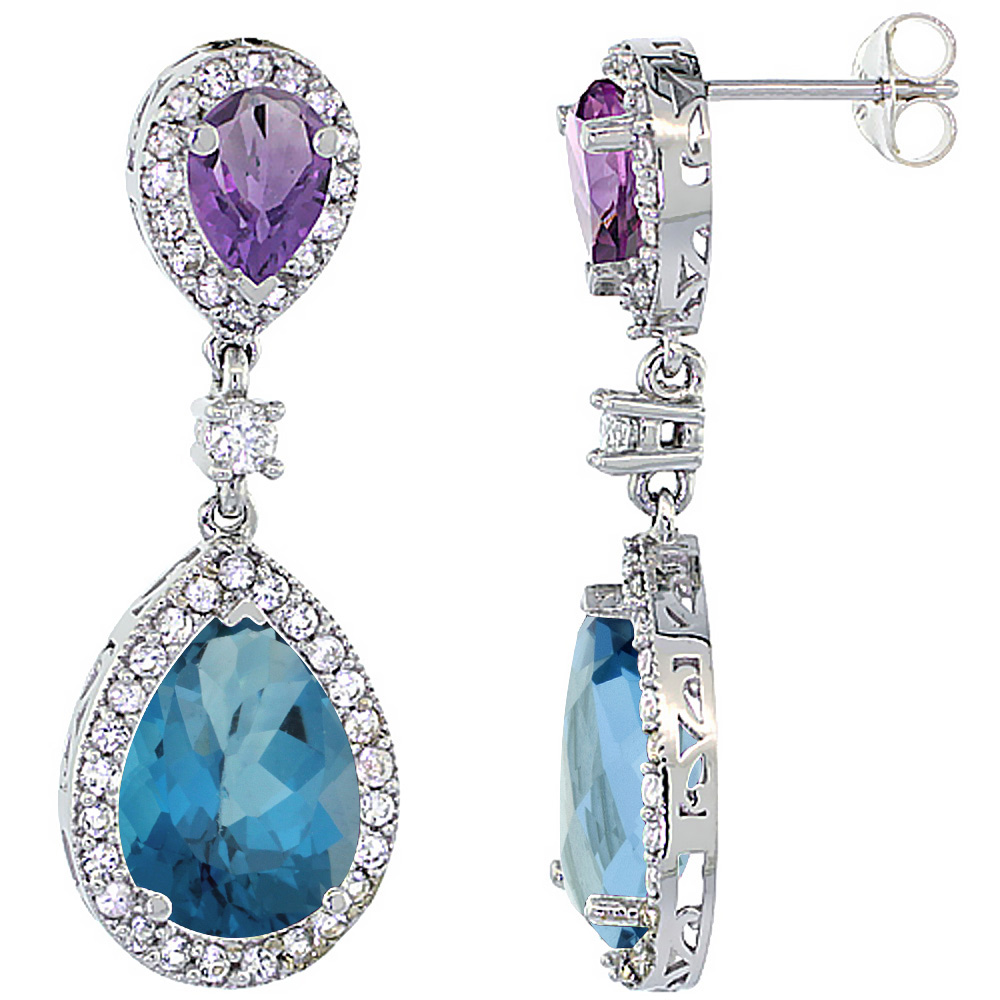 14K White Gold Natural London Blue Topaz & Amethyst Teardrop Earrings White Sapphire & Diamond