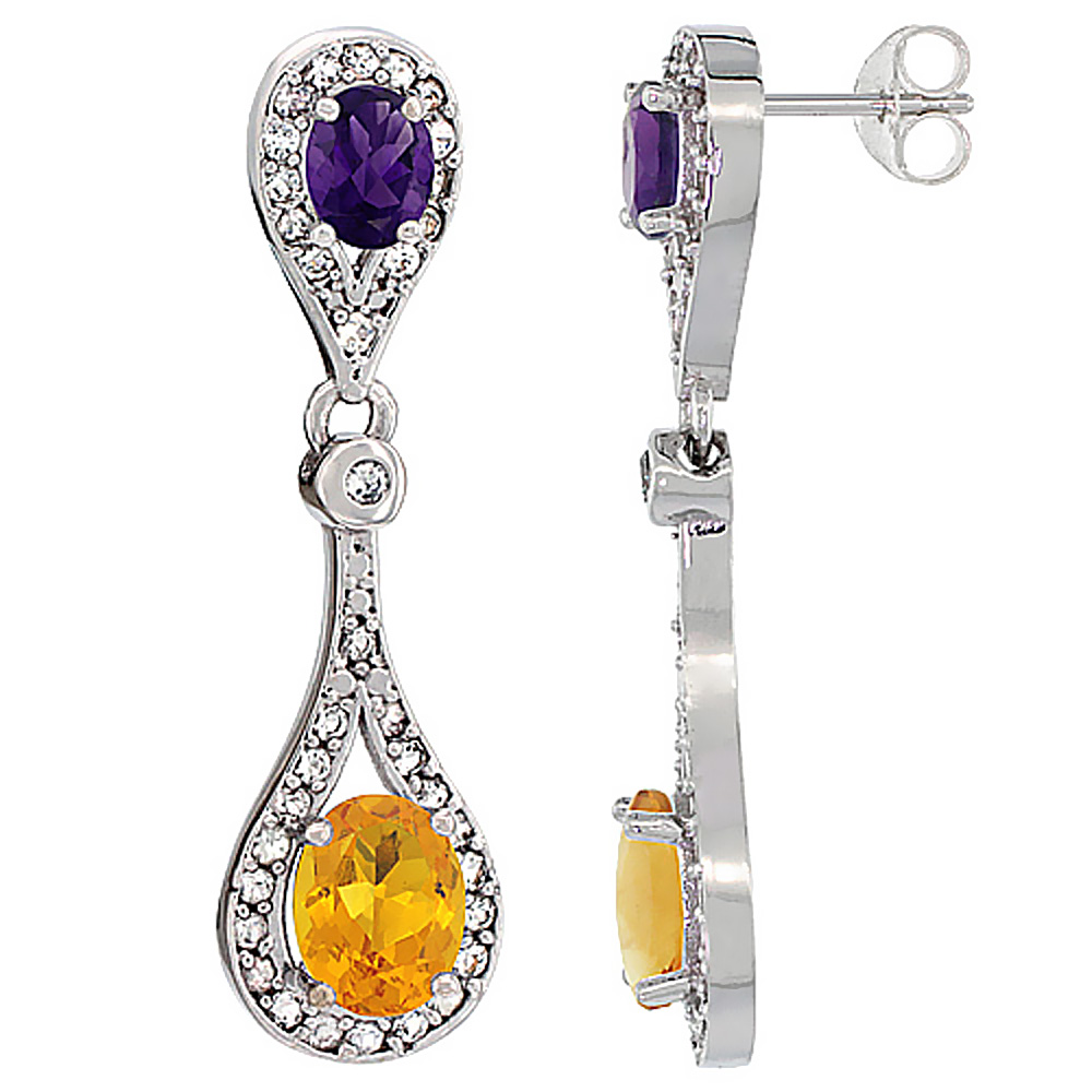 14K White Gold Natural Citrine & Amethyst Oval Dangling Earrings White Sapphire & Diamond Accents, 1 3/8 inches long