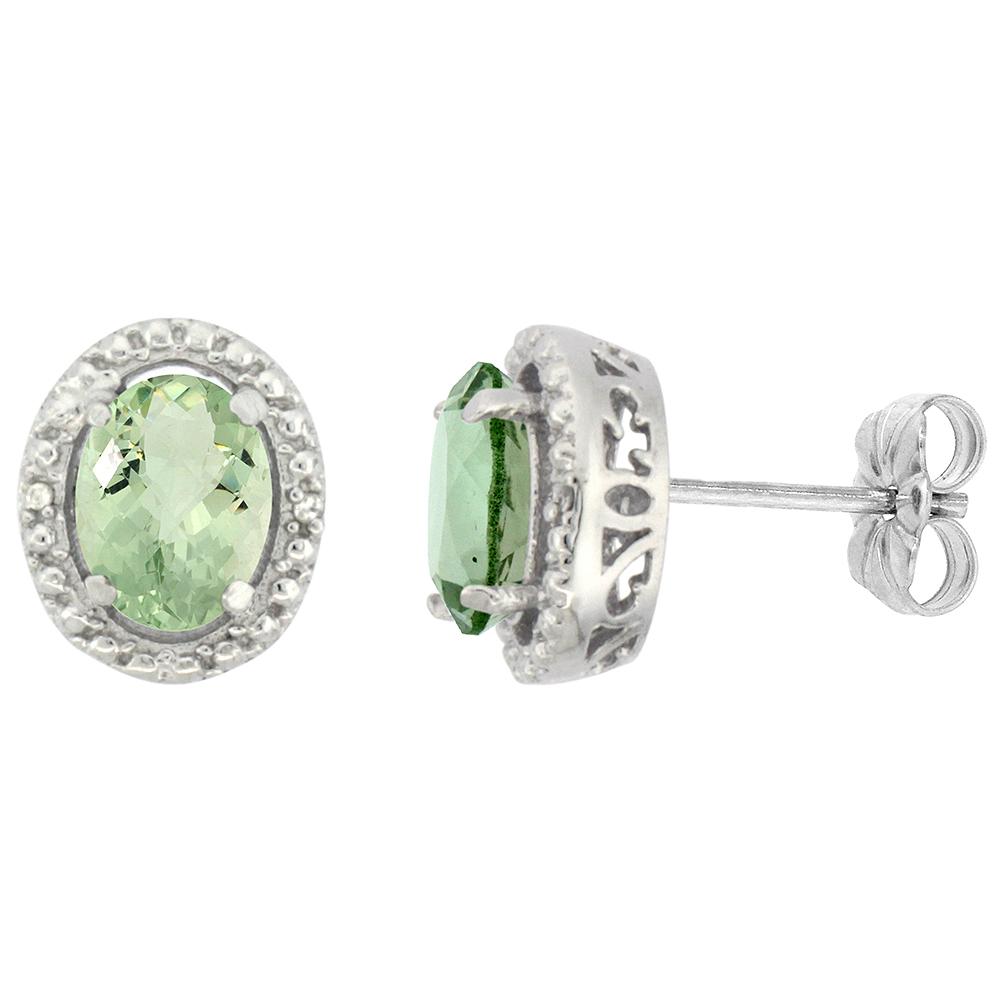 10K White Gold 0.01 cttw Diamond Natural Green Amethyst Post Earrings Oval 7x5 mm