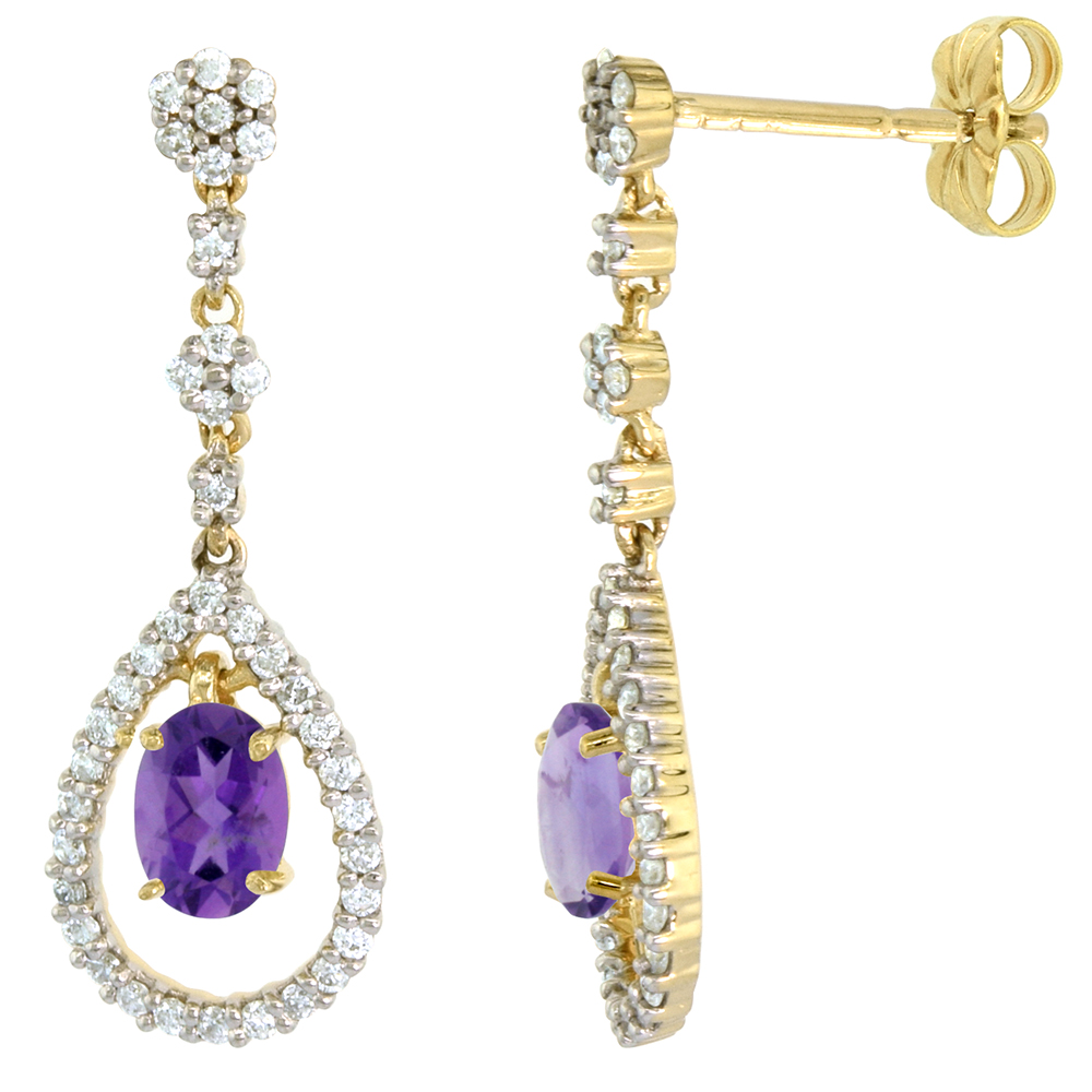 14k Gold Diamond Genuine Amethyst Dangle Earrings Teardrop 6x4 Oval 1 inch long