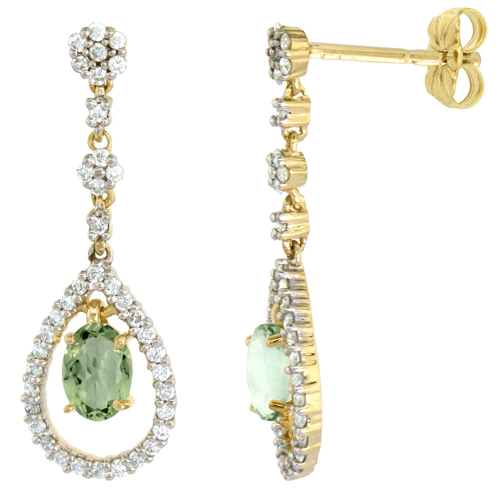 14k Gold Diamond Genuine Green Amethyst Dangle Earrings Teardrop 6x4 Oval 1 inch long