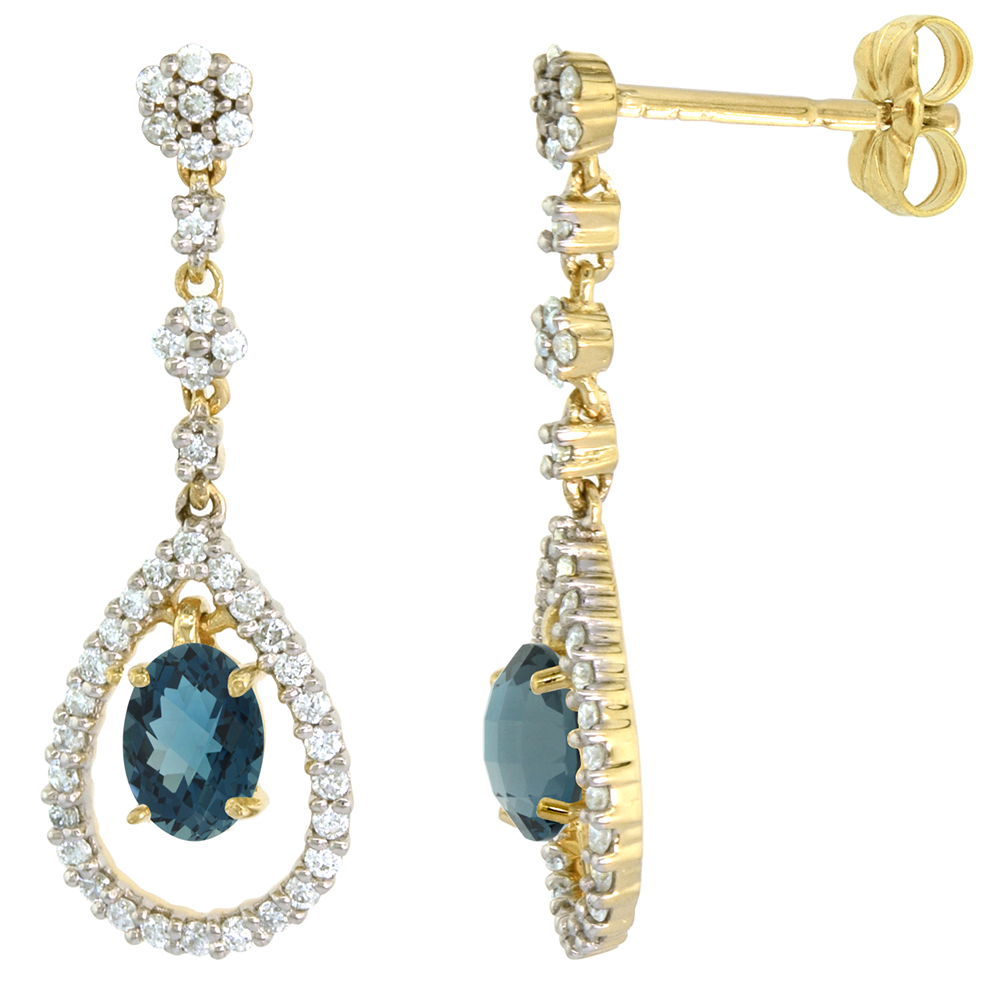 14k Gold Diamond Genuine London Blue Topaz Dangle Earrings Teardrop 6x4 Oval 1 inch long