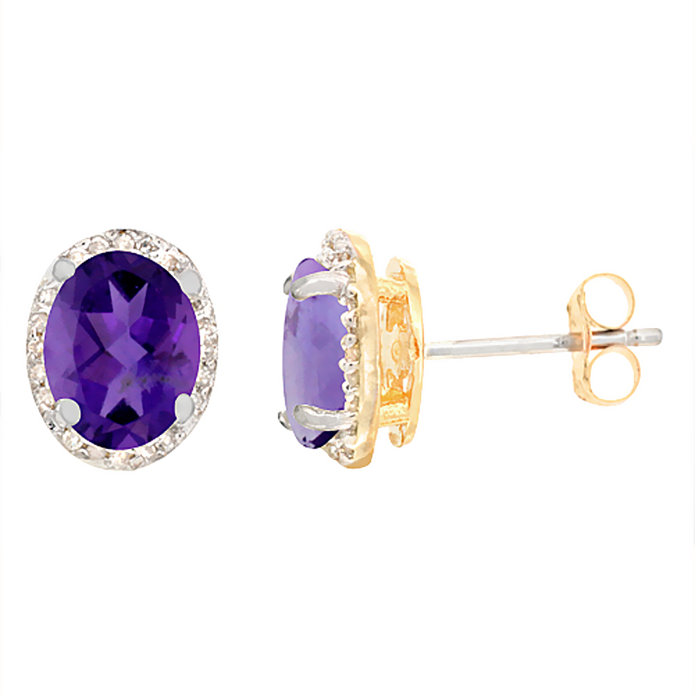 10K Yellow Gold Diamond Natural Amethyst Earrings Oval 7x5 mm