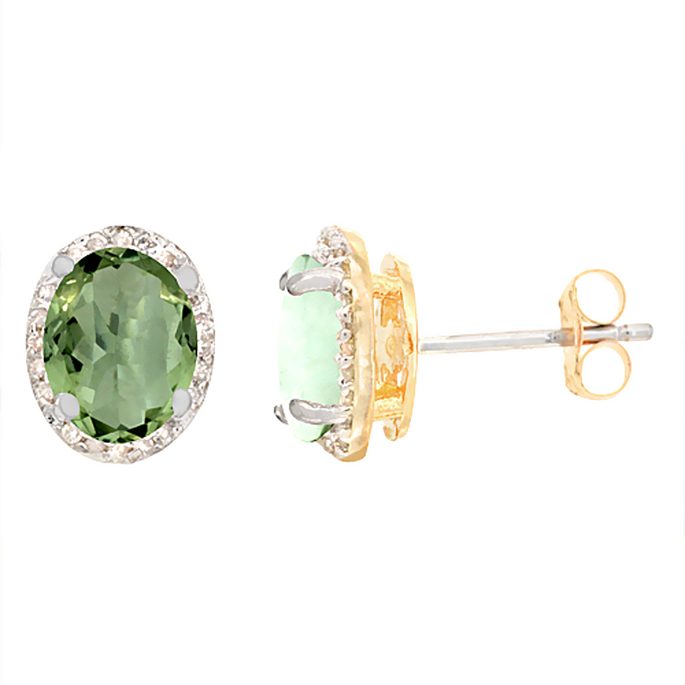 10K Yellow Gold Diamond Natural Green Amethyst Earrings Oval 7x5 mm
