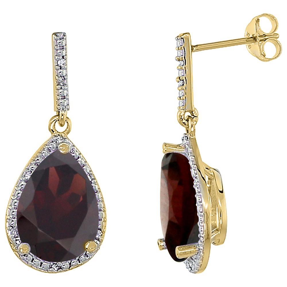10K Yellow Gold Diamond Halo Natural Garnet Dangle Earrings Pear Shaped 12x8 mm