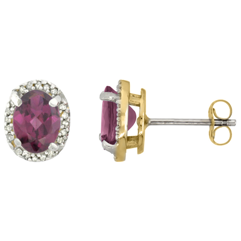 10K Yellow Gold Diamond Natural Rhodolite Earrings Oval 7x5 mm
