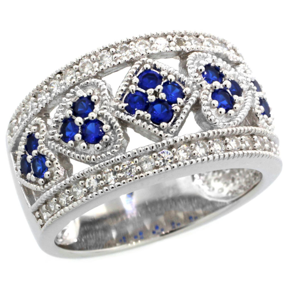 Sterling Silver Blue Sapphire Cubic Zirconia Cigar Band Ring Hearts & Diamonds, sizes 6-9