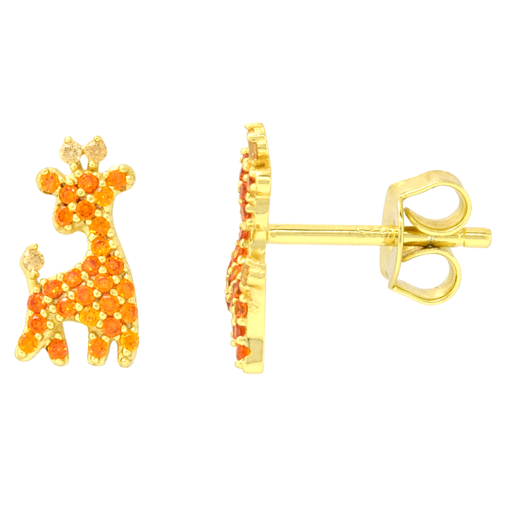 Dainty Sterling Silver Giraffe Earrings Studs Orange CZ Micropave Gold Plated  3/8 inch (11mm) long