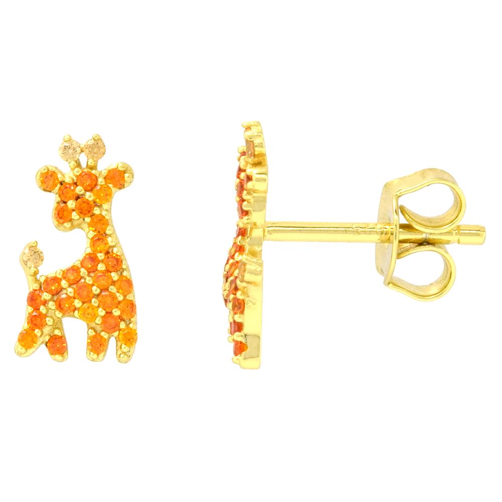 Dainty Sterling Silver Giraffe Earrings Studs Orange CZ Micropave Gold Plated  3/8 inch (11mm) long