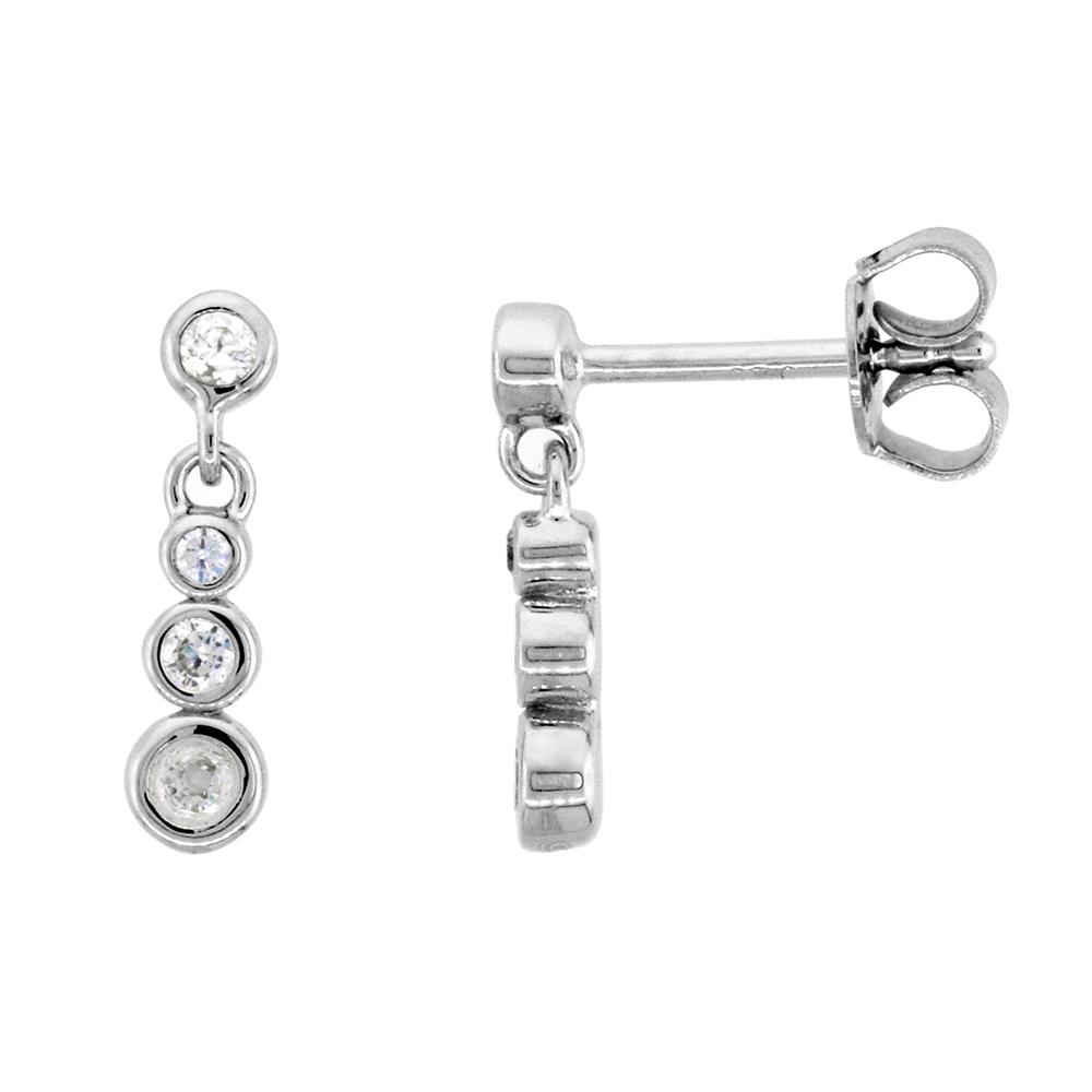 Dainty Sterling Silver CZ Station earrings for Women Bezel Set Rhodium Finish 5/8 inch