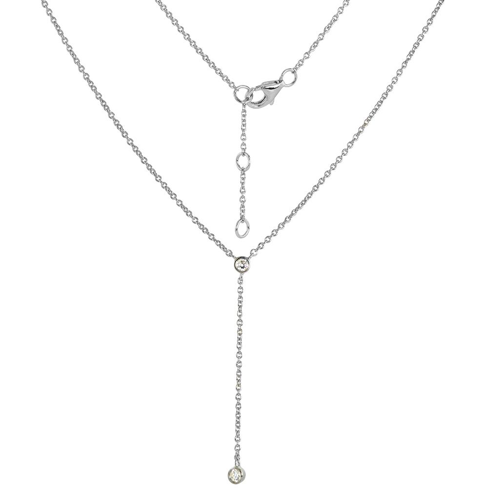Sterling Silver Cubic Zirconia Y Necklace Bezel Set Rhodium Finish 18 - 20 inch